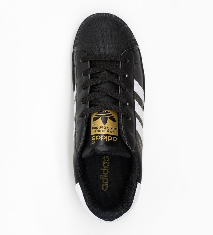 Adidas Superstar all black with wht stripe (gold)