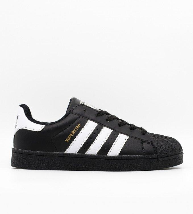 Adidas Superstar all black with wht stripe (white)