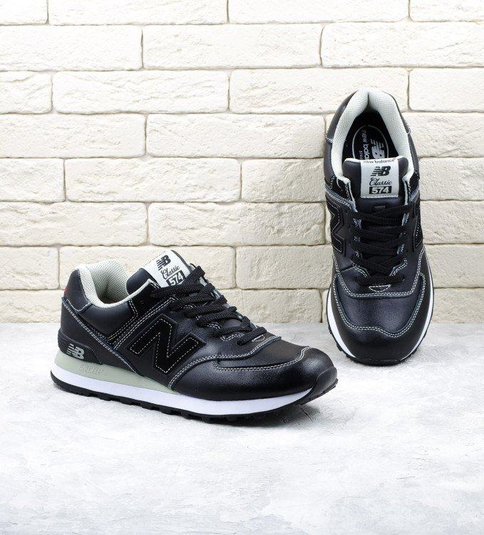New Balance 574 Leather black-white line