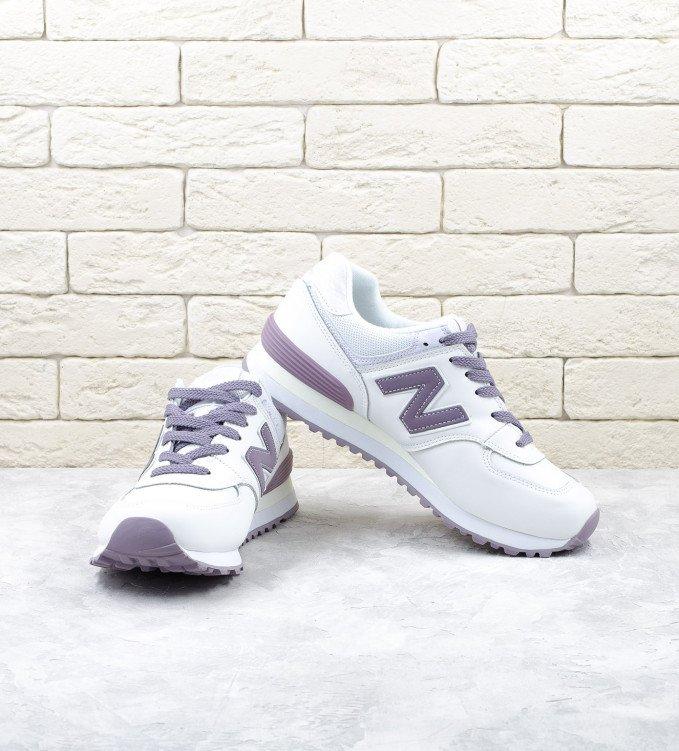 New Balance 574 White-pastel purple