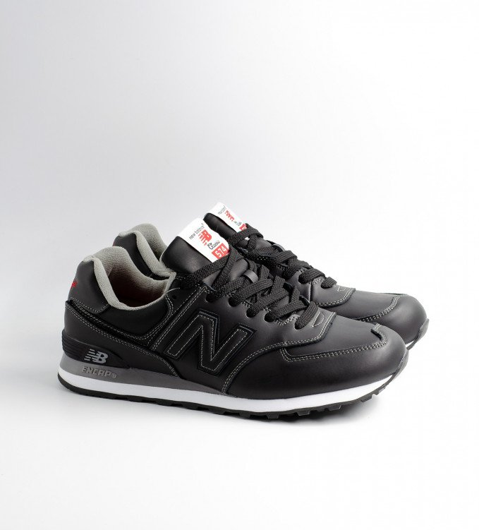 New Balance 574 Leather Black Red